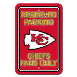 "Kansas City Chiefs Plastic 12""x18"" Team Fans Only Parking Sign"