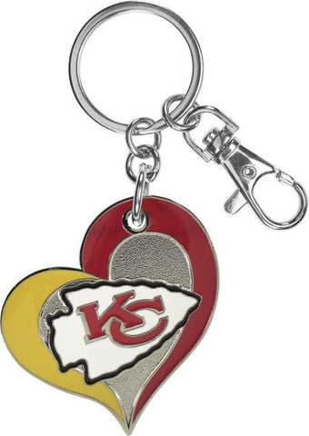 Kansas City Chiefs Swirl Heart Keychain
