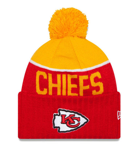 Kansas City Chiefs Beanie New Era 2015 On Field Sport Knit Pom Yellow Red