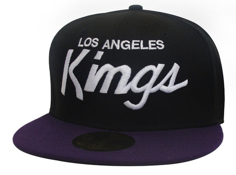 Los Angeles Kings Fitted New Era 59Fifty White Script Black Purple Cap Hat