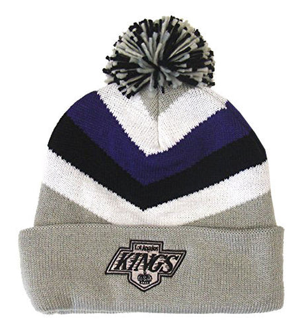 Los Angeles Kings Beanie Mitchell & Ness V Stripe Cuffed Pom Knit