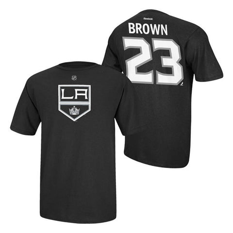 Los Angeles Kings Mens Reebok #23 Brown Name and Number Player T-Shirt Black