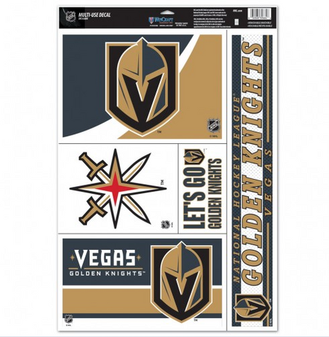 "Vegas Golden Knights Multi Use Decal 11"" x 17"" 5 in 1"