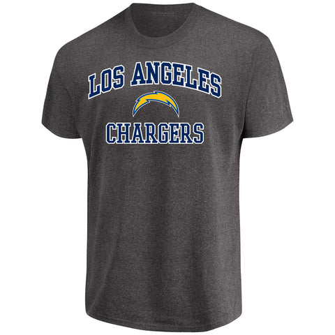 Los Angeles Chargers Mens T-Shirt Majestic Heart & Soul Charcoal Grey