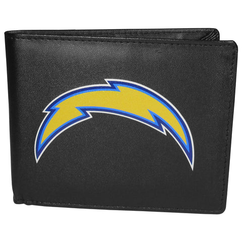 Los Angeles Chargers Mens Embroidered Leather Bi-fold Wallet