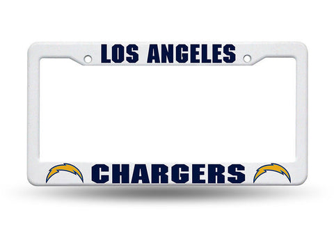 Los Angeles Chargers White Plastic License Plate Frame