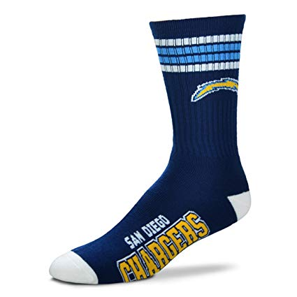 Los Angeles Chargers Socks 4-Stripe Long Deuce Team Color Performance