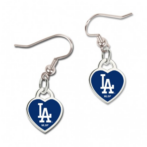 Los Angeles Dodgers 3D Heart Dangle Earrings