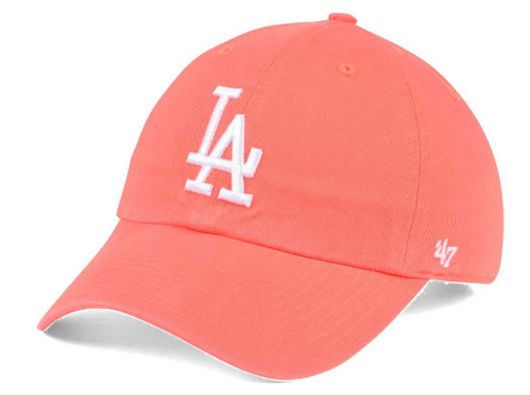 Los Angeles Dodgers Strapback '47 Brand Clean Up Adjustable Cap Hat Grapefruit
