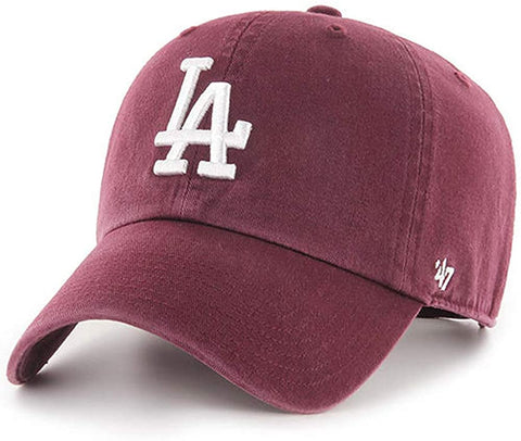 Los Angeles Dodgers Strapback '47 Brand Clean Up Adjustable Cap Hat Maroon