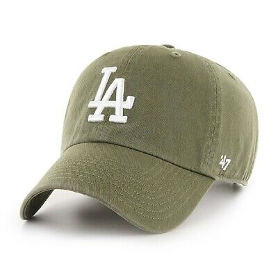 Los Angeles Dodgers Strapback '47 Brand Clean Up Adjustable Cap Hat Sandalwood Green