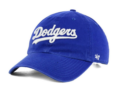 Los Angeles Dodgers Strapback '47 Brand Wordmark Clean Up Adjustable Cap Hat Blue