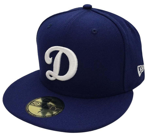 Los Angeles Dodgers Fitted New Era 59Fifty Big D Logo Cap Hat All Blue