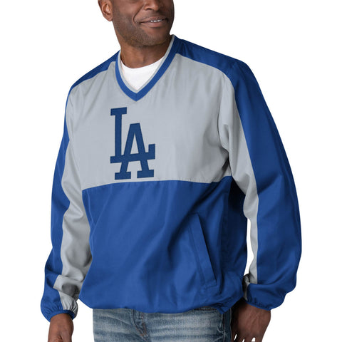 Los Angeles Dodgers Mens Jacket V-Neck GIII High Heat Pullover 2 Tone Windbreaker High