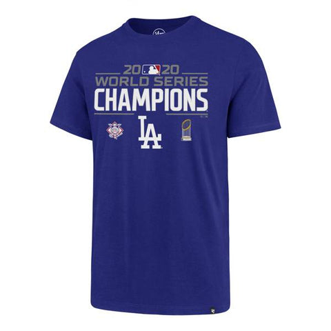 Los Angeles Dodgers Mens 47 Brand 2020 World Series Champions Blue T-Shirt