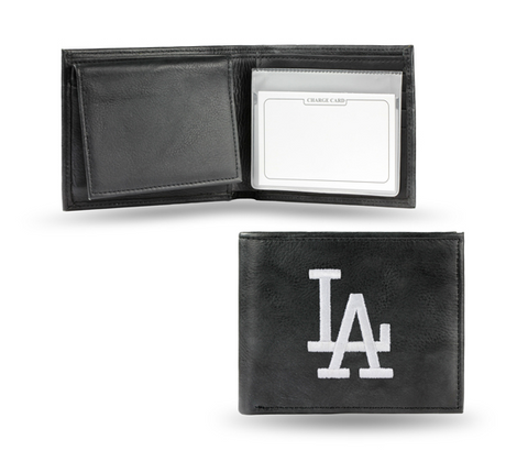 Los Angeles Dodgers Mens Leather Bifold Wallet Black