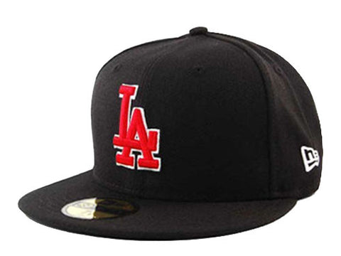 Los Angeles Dodgers Fitted New Era 59FIFTY Red Logo Black Cap Hat