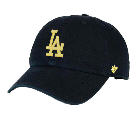 Los Angeles Dodgers Strapback '47 Brand Clean Up Adjustable Cap Hat Black Gold Logo