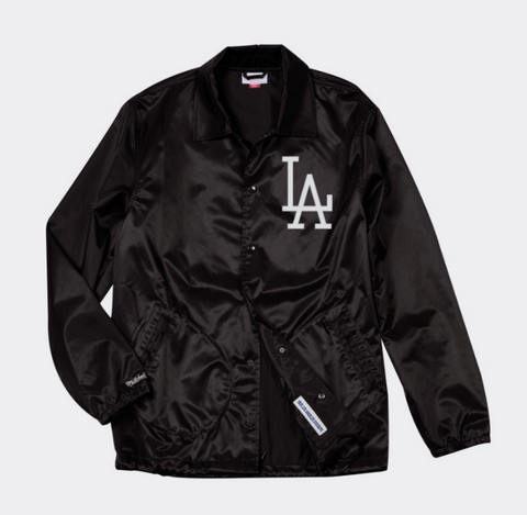 Los Angeles Dodgers Mens Mitchell & Ness Coaches Jacket Black