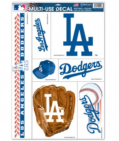 "Los Angeles Dodgers Decal Window Cling 11"" x 17 6 Pack Sticker"