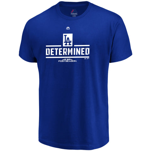 Los Angeles Dodgers Mens T-Shirt Majestic LA Determined Royal Blue