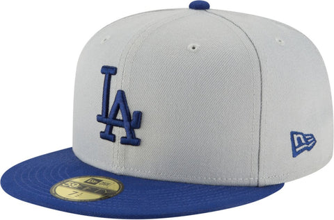 Los Angeles Dodgers Fitted New Era 59FIFTY Blue Logo Grey Blue Cap Hat