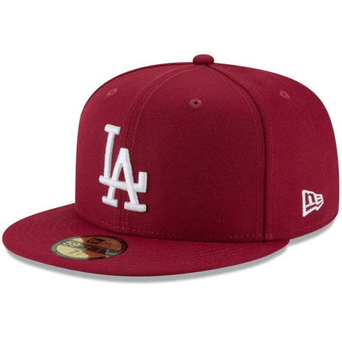 Los Angeles Dodgers Fitted New Era 59Fifty White Logo Cap Hat Burgundy Grey Bottom