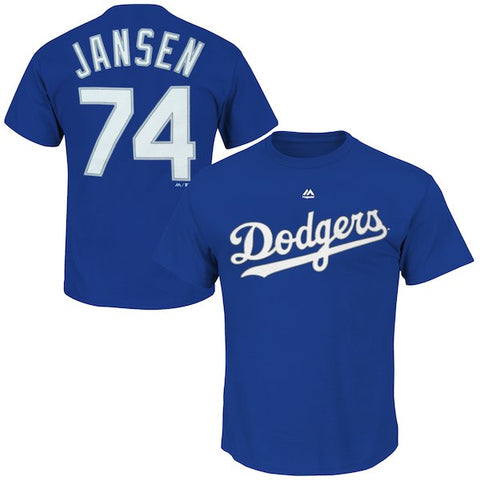 Los Angeles Dodgers Mens T-Shirt #74 Jansen Name & Number Blue
