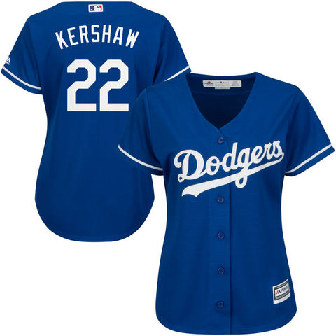 Los Angeles Dodgers Womens Jersey Cool Base Majestic #22 Kershaw Blue