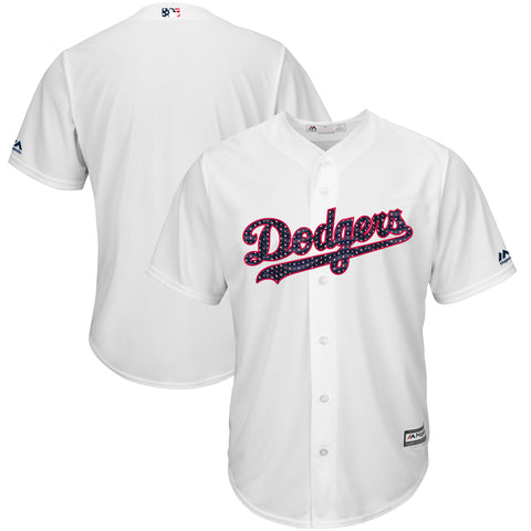 Los Angeles Dodgers Mens Jersey Majestic 2018 Stars & Stripes Cool Base White