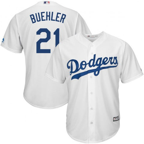 Los Angeles Dodgers Mens Jersey #21 Walker Buehler Majestic Cool Base White