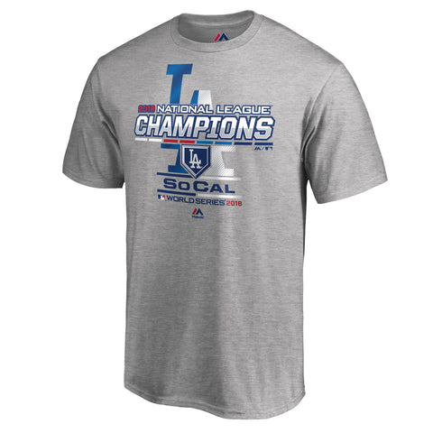 Los Angeles Dodgers Mens T-Shirt 2018 Majestic National League Champions Locker Room