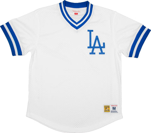 Los Angeles Dodgers Mens Jersey Mitchell & Ness Mesh V Neck White