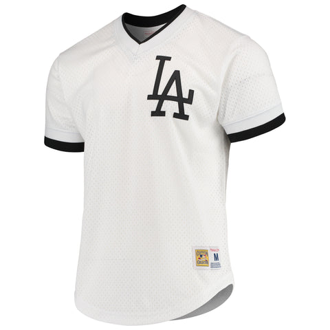 Los Angeles Dodgers Mens Jersey Mitchell & Ness Mesh V Neck White Black