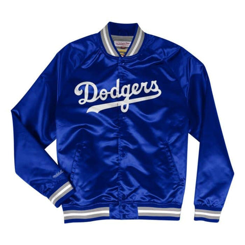 Los Angeles Dodgers Mens Jacket Mitchell & Ness Light Satin Blue
