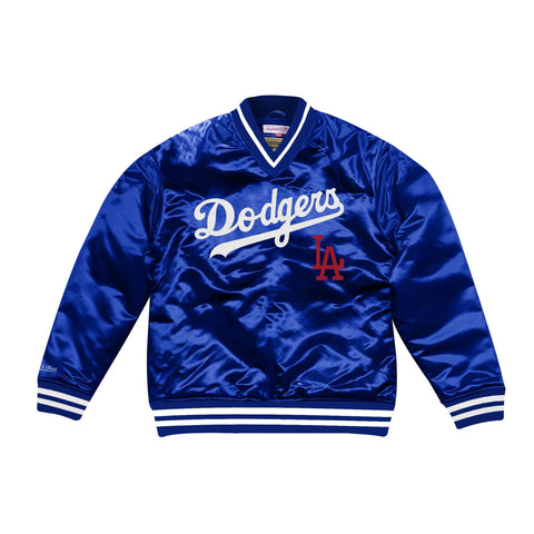 Los Angeles Dodgers Mens Jacket Pullover Mitchell & Ness Satin Blue
