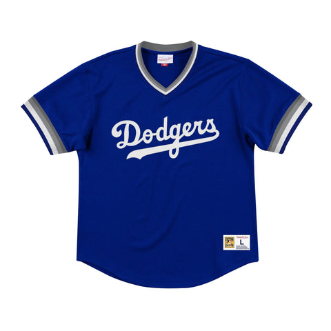 Los Angeles Dodgers Mens Jersey Mitchell & Ness Mesh Wordmark V Neck Blue