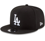 Los Angeles Dodgers Snapback New Era White Logo Cap Hat Black