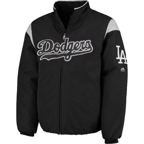 Los Angeles Dodgers Mens Jacket Majestic On-Field Therma Base Thermal Full-Zip Custom Black