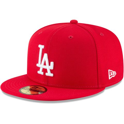 Los Angeles Dodgers Fitted New Era 59Fifty White Logo Red Cap Hat