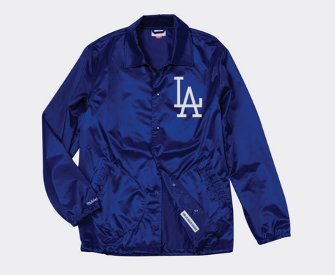 Los Angeles Dodgers Mens Mitchell & Ness Coaches Satin Jacket Blue