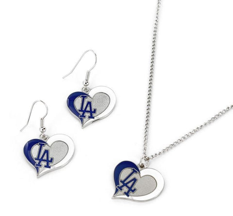 Los Angeles Dodgers Swirl Heart Earrings & Pendant Set