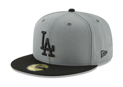 Los Angeles Dodgers Fitted New Era 59Fifty Basic Logo Cap Hat Storm Grey Black