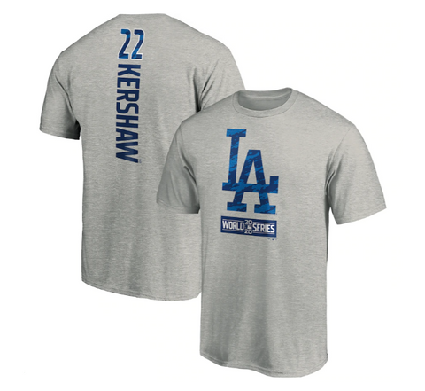 Los Angeles Dodgers Mens Fanatics 2020 World Series Bound Clayton Kershaw T-Shirt
