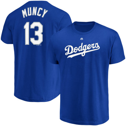 Los Angeles Dodgers Mens T-Shirt #13 Max Muncy Name & Number Blue