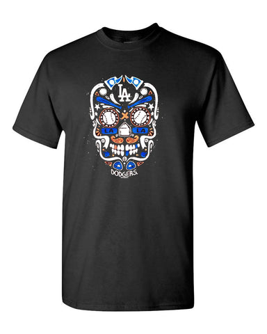 Los Angeles Dodgers Mens T-Shirt New Era Custom Skull Candy Logo Black