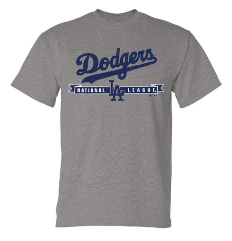Los Angeles Dodgers Mens T-Shirt Majestic National League Grey