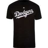 Los Angeles Dodgers Mens T-Shirt Stitch Wordmark Majestic Black