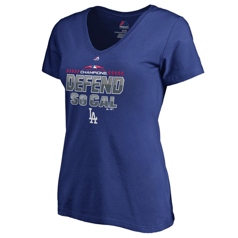 Los Angeles Dodgers Womens T-Shirt Majestic Defend SoCal Post Season V-Neck