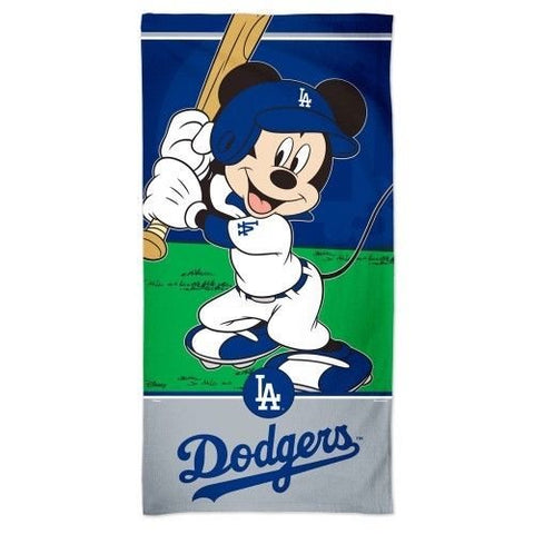 "Los Angeles Dodgers Mickey Mouse Spectra Beach Towel 30"" X 60"" Cotton Plush Disney"